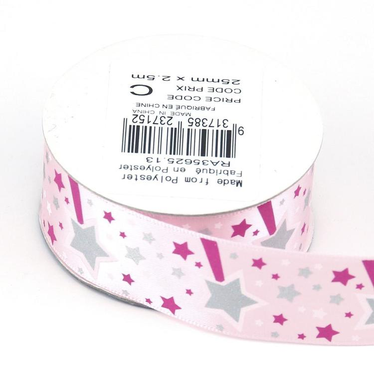 Celebrate 25 mm Satin Glitter Ribbon Light Pink 25 mm x 2.5 m