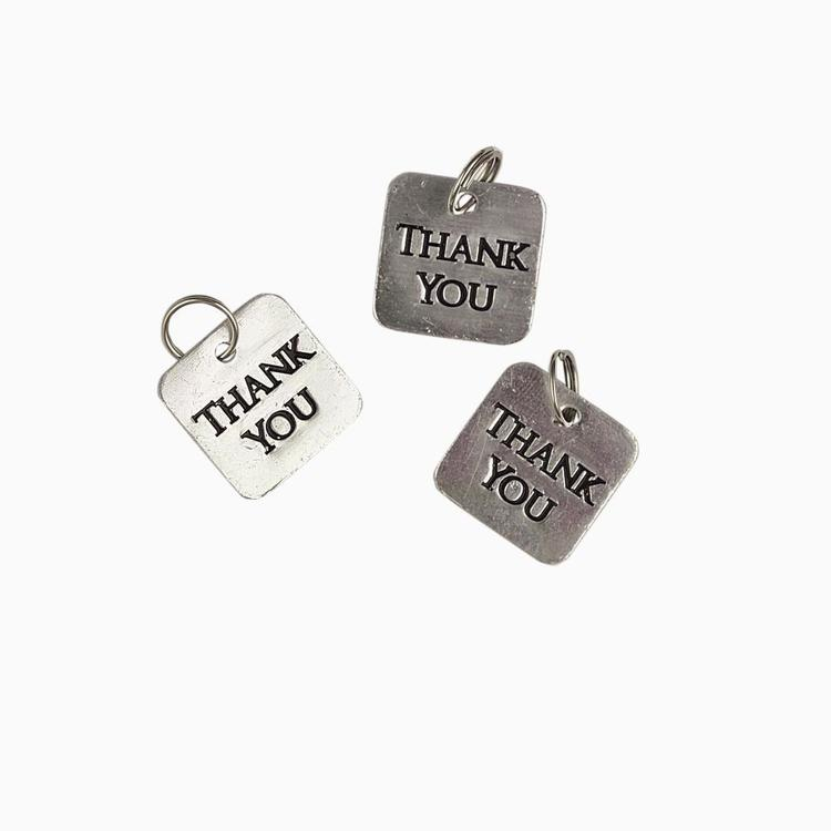 Favours Thank You Metal Tags 10 Pack Silver