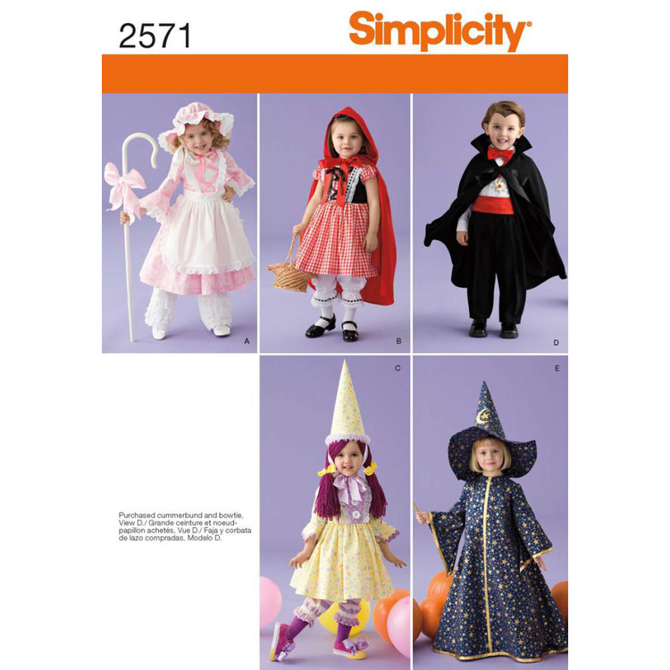 Simplicity 2571 Girl's Costume  6 Months - 4 Years