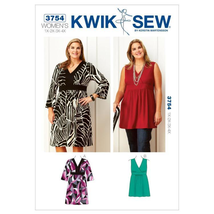 Kwik Sew Pattern 3754 Women's V-Neck Dress and Tunic