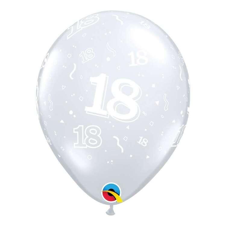 """Qualtex 11"""" 18-A-Round Birthday Diamond Printed Clear Latex Balloon"""