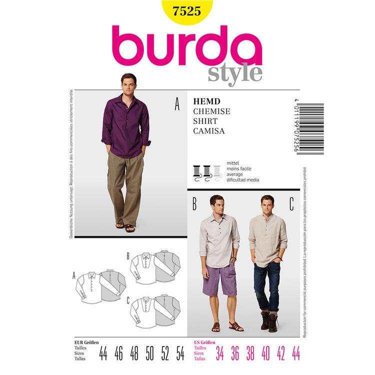Burda Pattern 7525 Men's Shirt