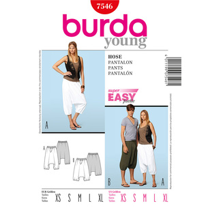Burda 7546 Women's & Mens' Pants
