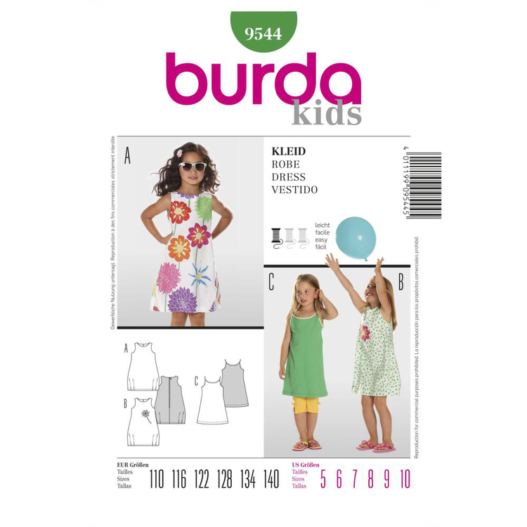 Burda Pattern 9544 Girl's Dress  5 - 10