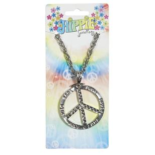 Party Additions Peace Sign Silver Necklace