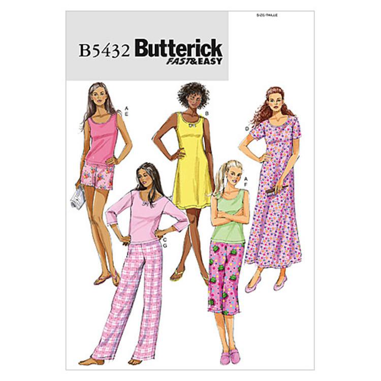 Butterick Pattern B5432 Misses' Petite Top Gown Shorts & Pants