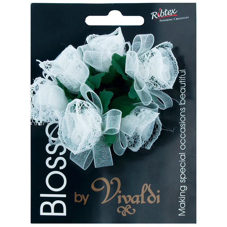 Vivaldi Blossoms 6 Head Organza Ribbon & Lace Flower Ivory 40 mm