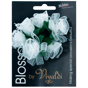 Vivaldi Blossoms 6 Head Organza Ribbon & Lace Flower