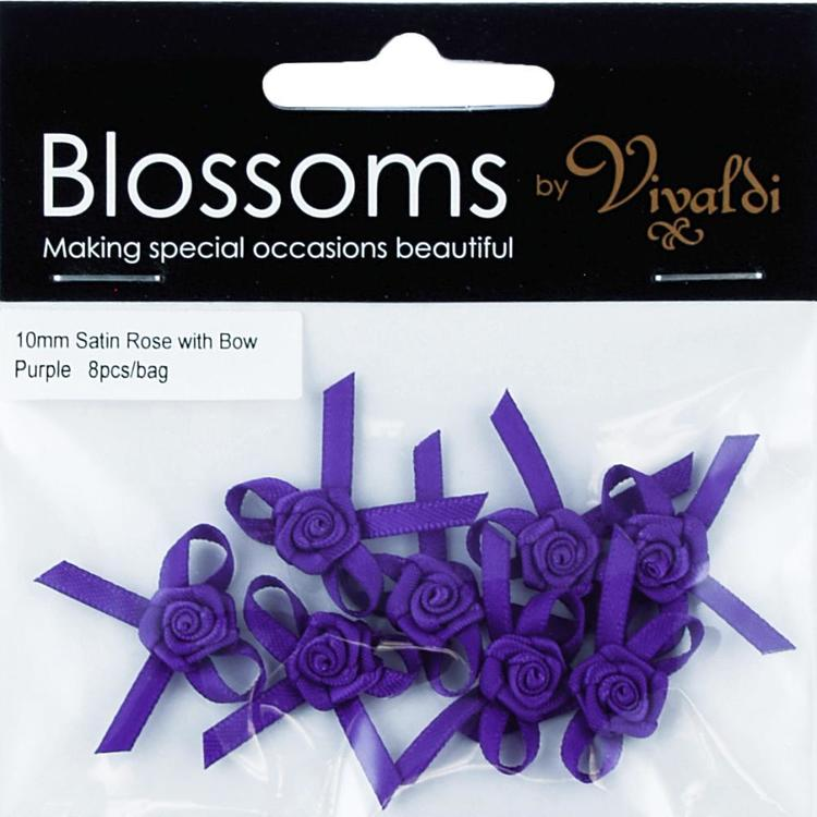 Vivaldi Blossoms Satin Rose With Bow