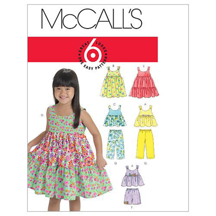 McCall's Pattern M6017 Kids' Tops Dresses Shorts & Pants