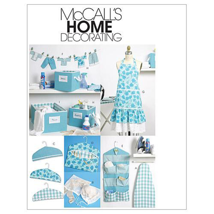 McCall's Pattern M6051 Apron, Ironing Board Cover, Organizer, Bins, Hanger Cover, Clothespin Holder, Banner & Scissor Caddy