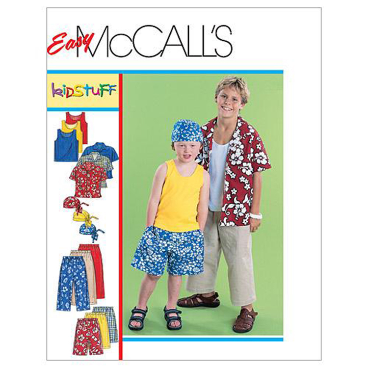 McCall's Pattern M6099 Boys' Shirt Tank Top Pull-On Cropped Pants Pull-On Shorts & Headwrap