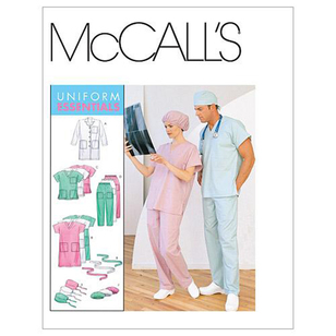 McCalls M6107 Teens' Lab Coat Dress Top Pull-On Pants Hats & Tie Belt