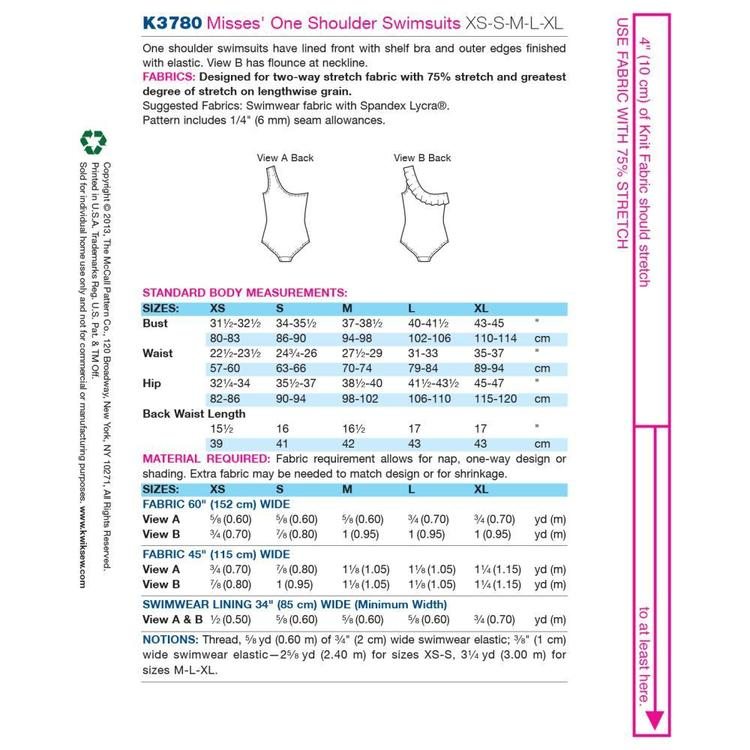 Kwik Sew Pattern K3780 One Shoulder Swimsuits  X Small - X Large