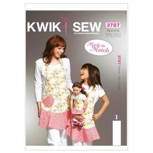 "Kwik Sew K3787 Misses'/Girls'/18"" Dolls' Matching Flounce Aprons"