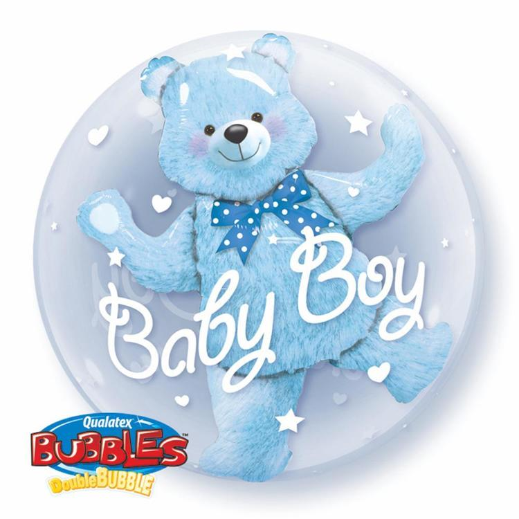 Qualatex Baby Boy Bubbles Balloon Baby Blue
