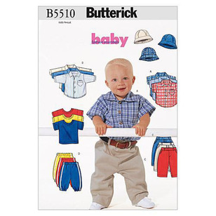 Butterick Pattern B5510 Infants' Shirt T-Shirt Pants & Hat