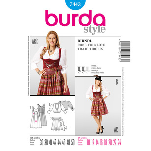 Burda Pattern 7443 Women's Dirndl