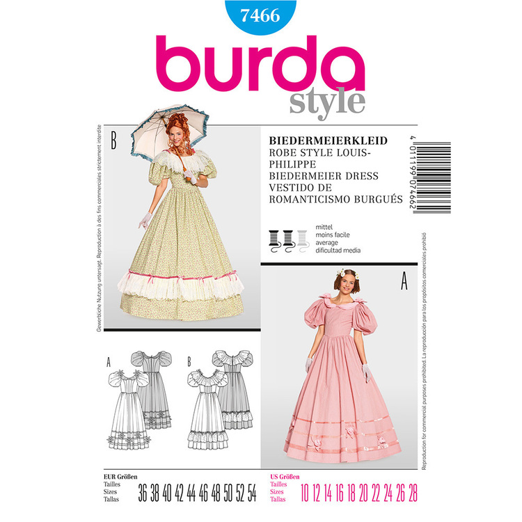 Burda Pattern 7466 Biedermeier Dress Costume  10 - 28