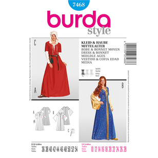 Burda 7468 Middle Age Dress And Bonnet Costume