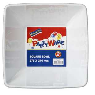 Partyware White Square Bowls 185 mm 2 Pack