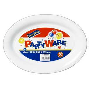 Partyware Plastic Oval Trays 3 Pack