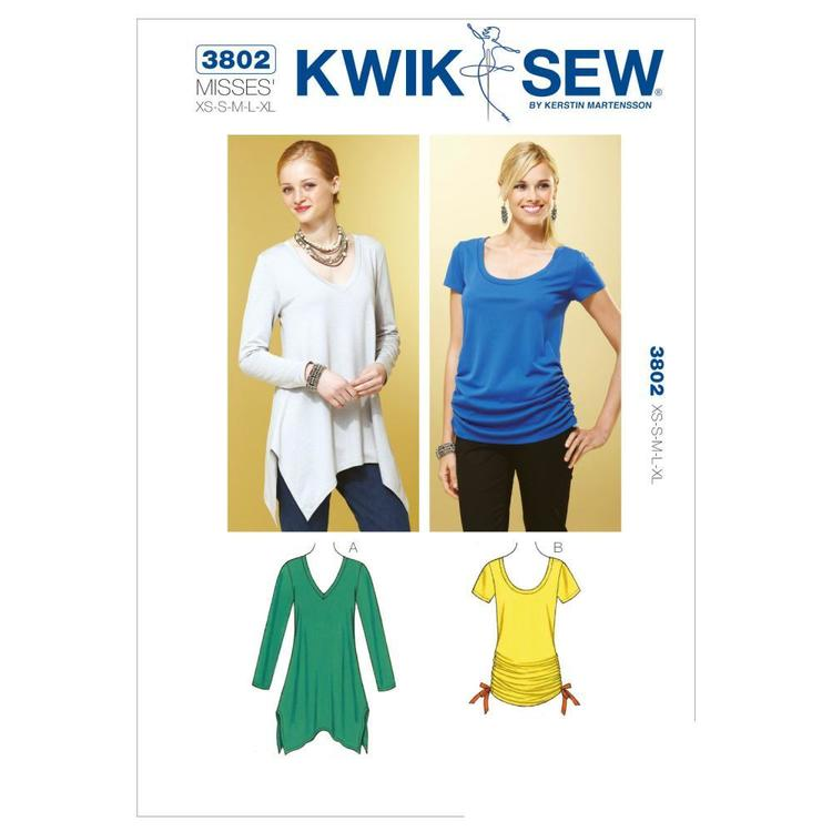 Kwik Sew K3802 Tops  X Small - X Large