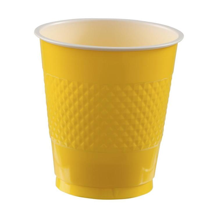 Amscan Yellow Plastic Cups Yellow 335 mL