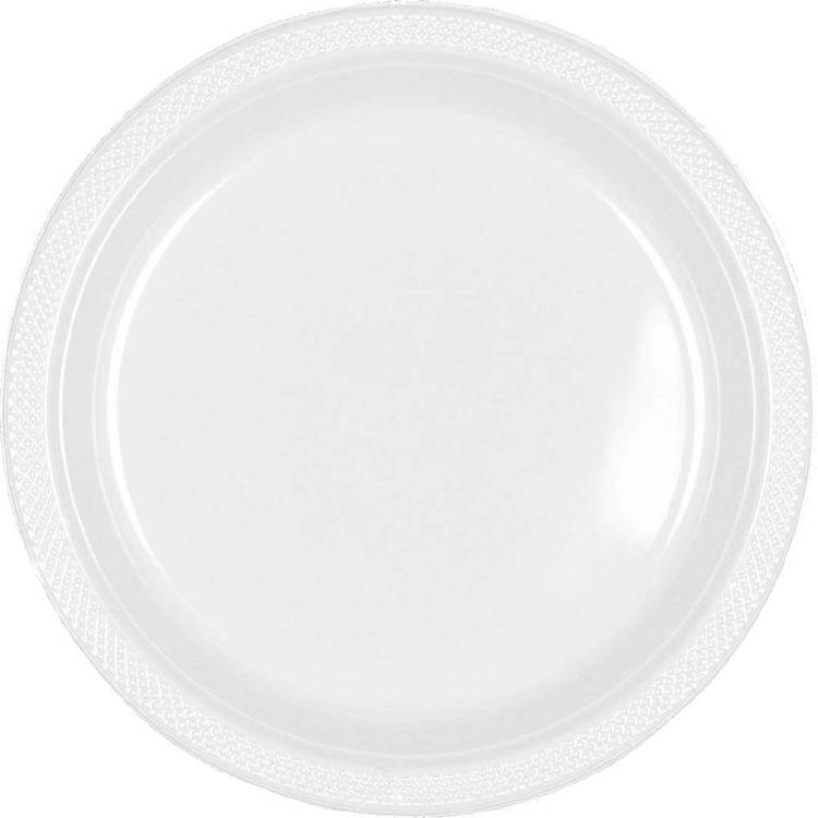 Amscan White Plastic Round Plates 20 Pack White - Everyday Bargain