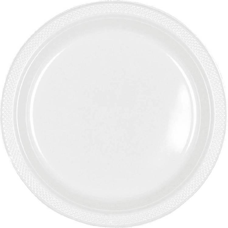Amscan White Plastic Round Plates 20 Pack