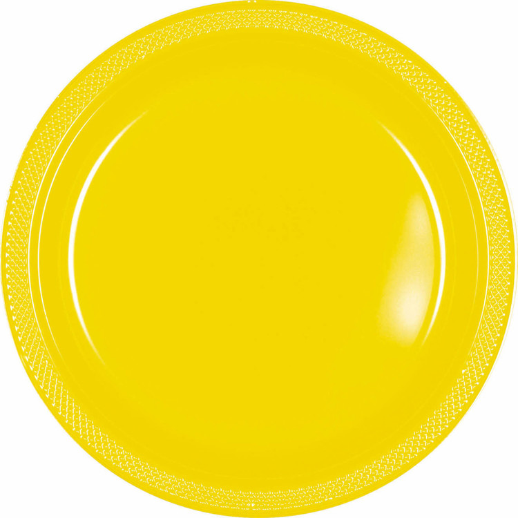 Amscan Yellow Plastic Round Plates 20 Pack
