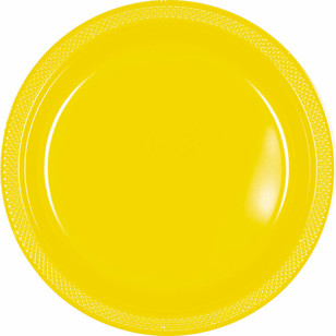 Amscan Yellow Plastic Round Plates 20 Pack - Everyday Bargain