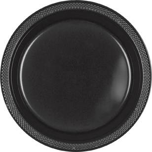 Amscan Black Plastic Round Plates 20 Pack - Everyday Bargain
