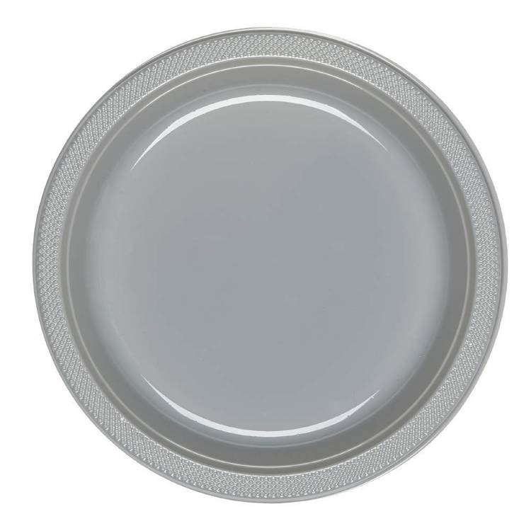 Amscan Silver Plastic Round Plates 20 Pack Silver