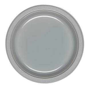 Amscan Silver Plastic Round Plates 20 Pack