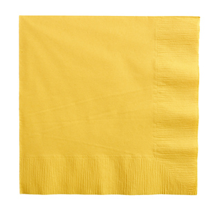 Amscan 2 Ply Yellow Beverage Napkins - Everyday Bargain