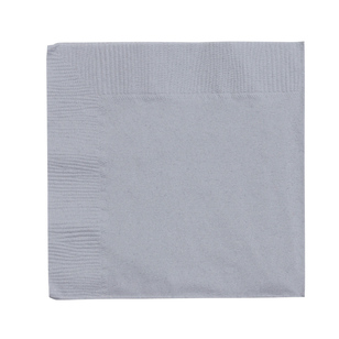 Amscan 2 Ply Silver Beverage Napkins - Everyday Bargain