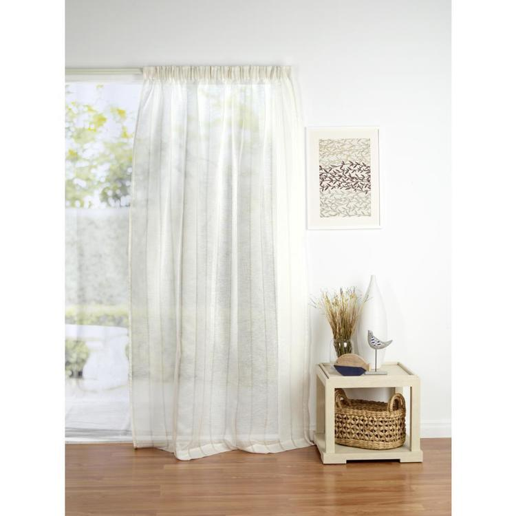 Filigree Tyrol Stripe Pencil Pleat Curtain Taupe 140 x 221 cm