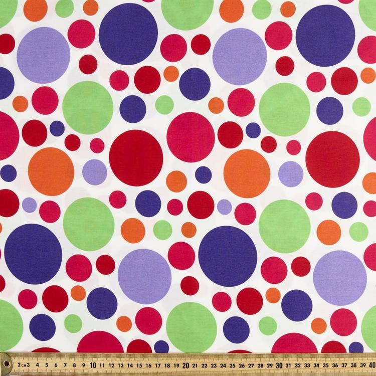 Spots & Stripes 112 cm Large Spot Cotton Fabric Multicoloured