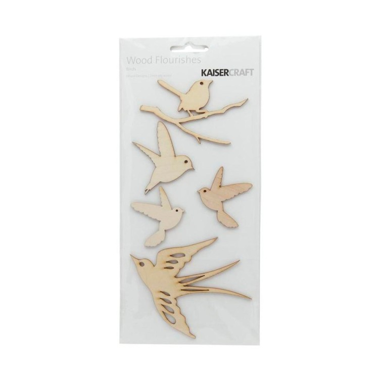 Kaisercraft Wooden Flourishes Birds Packs Natural