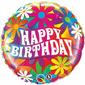 Qualatex Birthday Psychedelic Daisies Foil Balloon Psychedelic 45 cm