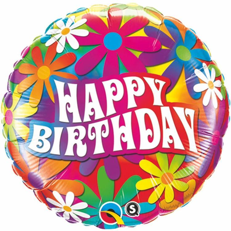 Qualatex Birthday Psychedelic Daisies Foil Balloon