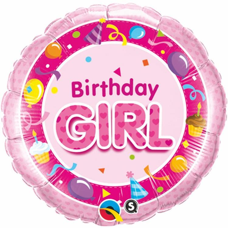 Qualatex Birthday Girl Foil Balloon Pink 45 cm