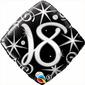 Qualatex 18th Elegant Sparkles & Swirls Foil Balloon Black & Silver