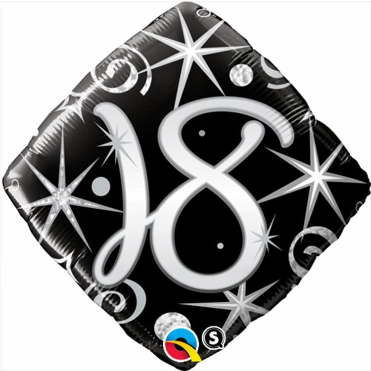 Qualatex 18th Elegant Sparkles & Swirls Foil Balloon