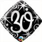 Qualatex 30th Elegant Sparkles & Swirls Foil Balloon Black & Silver