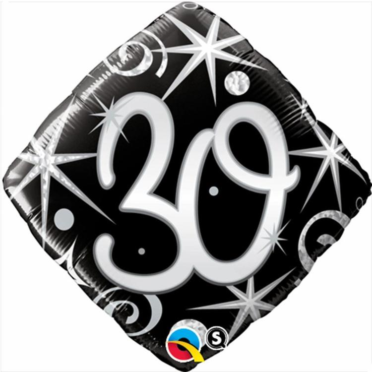 Qualatex 30th Elegant Sparkles & Swirls Foil Balloon