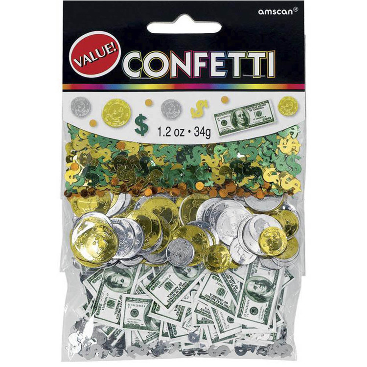 Amscan Money Money Confetti Triple Pack Green & Gold