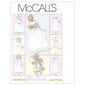 McCall'sM6221 Infants' Christening Gown Rompers With Snap Crotch In 2 Lengths & Bonnets One Size