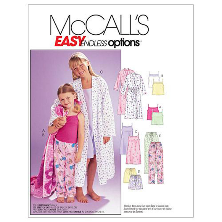 McCalls M6225 Girls' Robe Belt Tops Gown Shorts & Pants